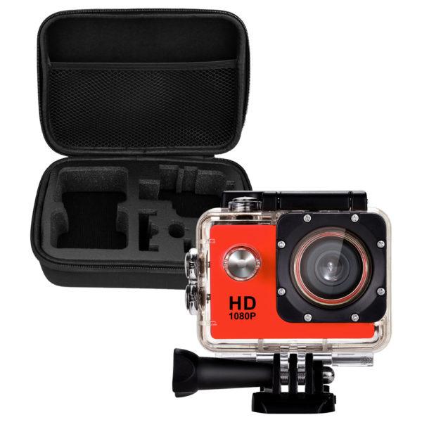 Caméra sport HD 1080 rouge + sacoche de transport